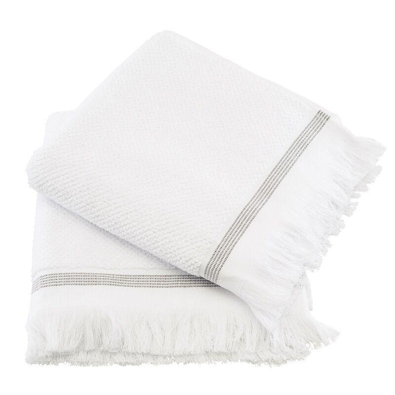 Meraki Towel White w. Grey Stripes 50x100 cm - 2 pcs