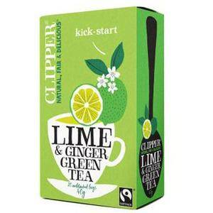 Clipper grønn te med lime og ingefær - 40g