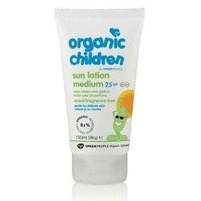 Organic Children Sun Lotion Medium SPF 25 No Scent - 150 ml.