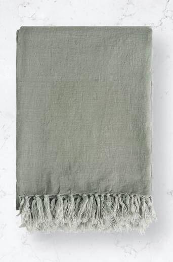 Studio Total Home Sengeteppe Fringe Linen Bedspread Grønn  Male Grønn