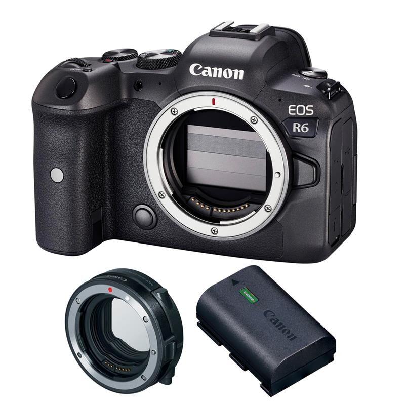 Canon Eos R6 Kit M/batteri Og Adapter Canon Mount Adapter Ef-Eos Rf