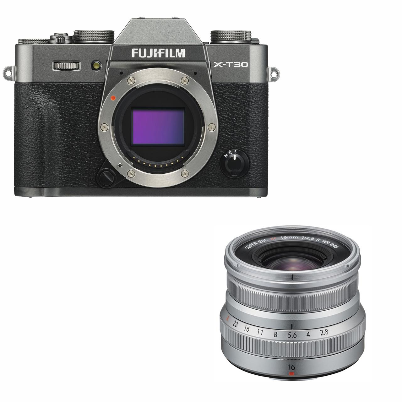 Fujifilm X-T30 mørk sølv + XF 16mm XF 16mm f/2.8 WR sølv