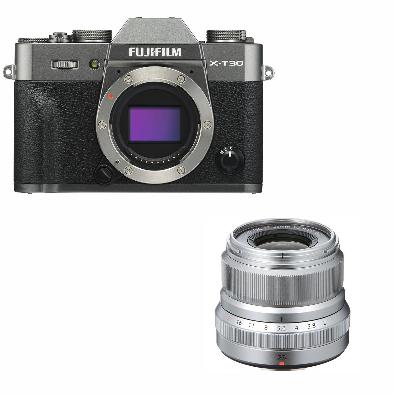 Fujifilm X-T30 mørk sølv + XF 23mm XF 23mm f/2.0 R WR sølv