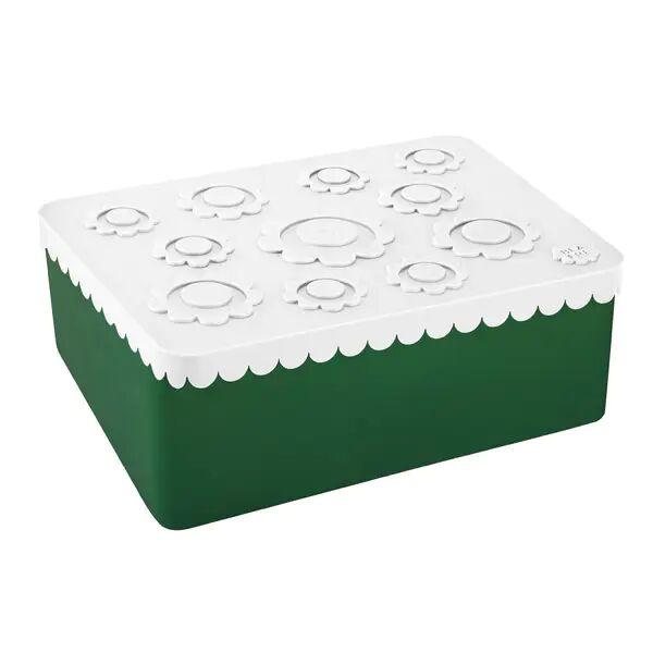 Blafre Treroms Matboks I Plast Med Blomster, Hvit/grønn