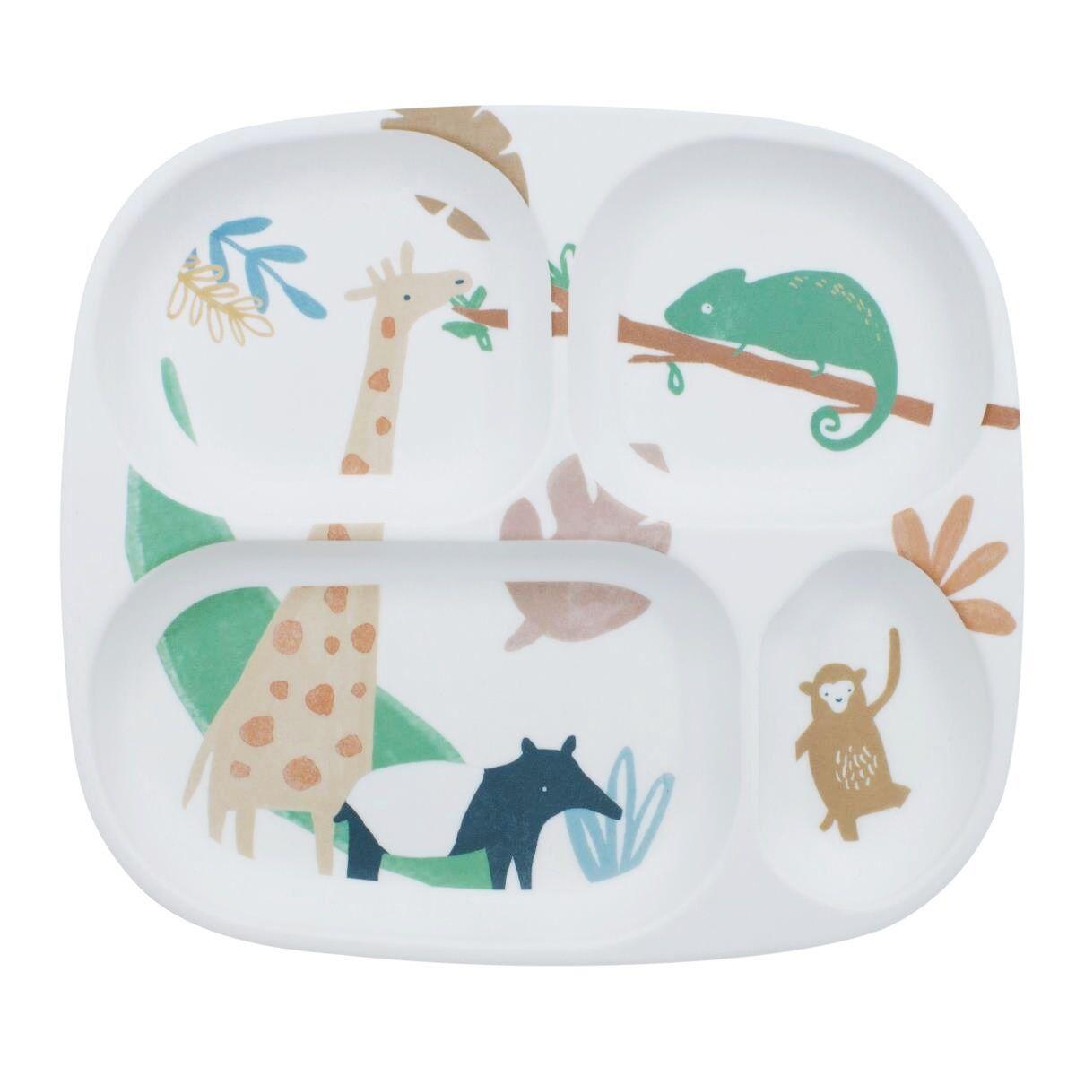 Sebra melamin 4-delt tallerken til barn, wildlife