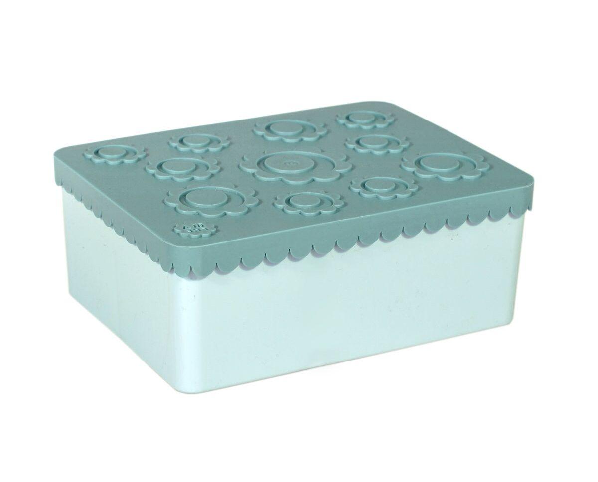Blafre tre roms matboks i plast med blomster, blågrønn