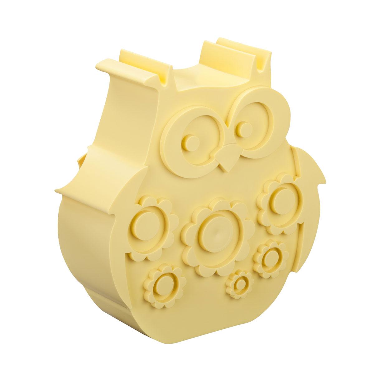Blafre uglematboks i plast med to rom, gul