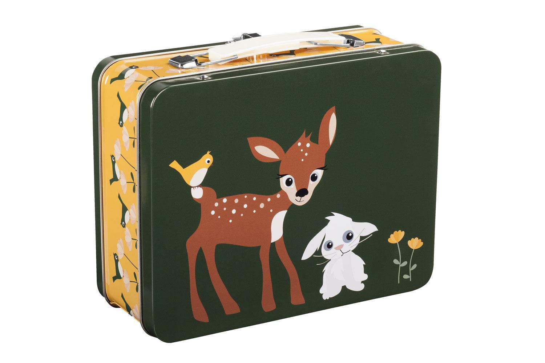 Blafre koffert matboks med rådyr og kanin, grønn