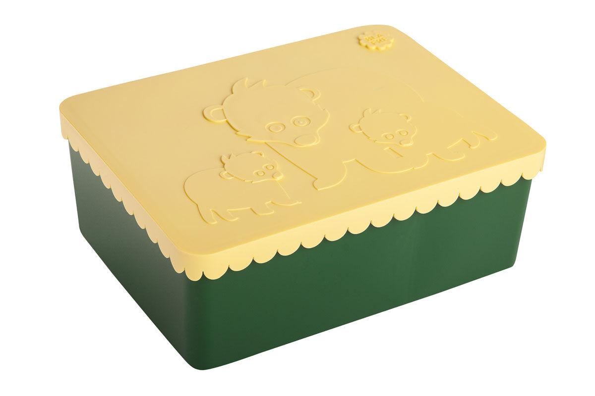 Blafre tre roms matboks i plast med bjørner, gul