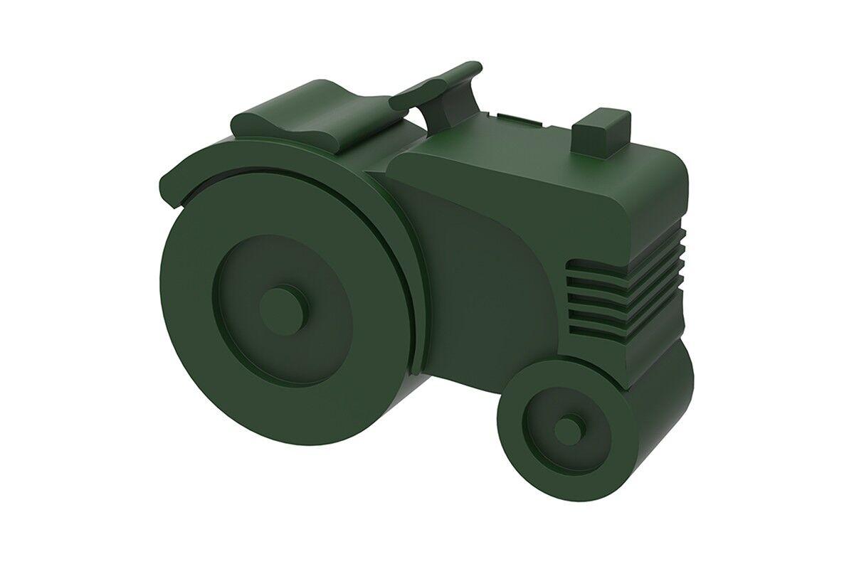 Blafre traktormatboks i plast med to rom, mørk grønn