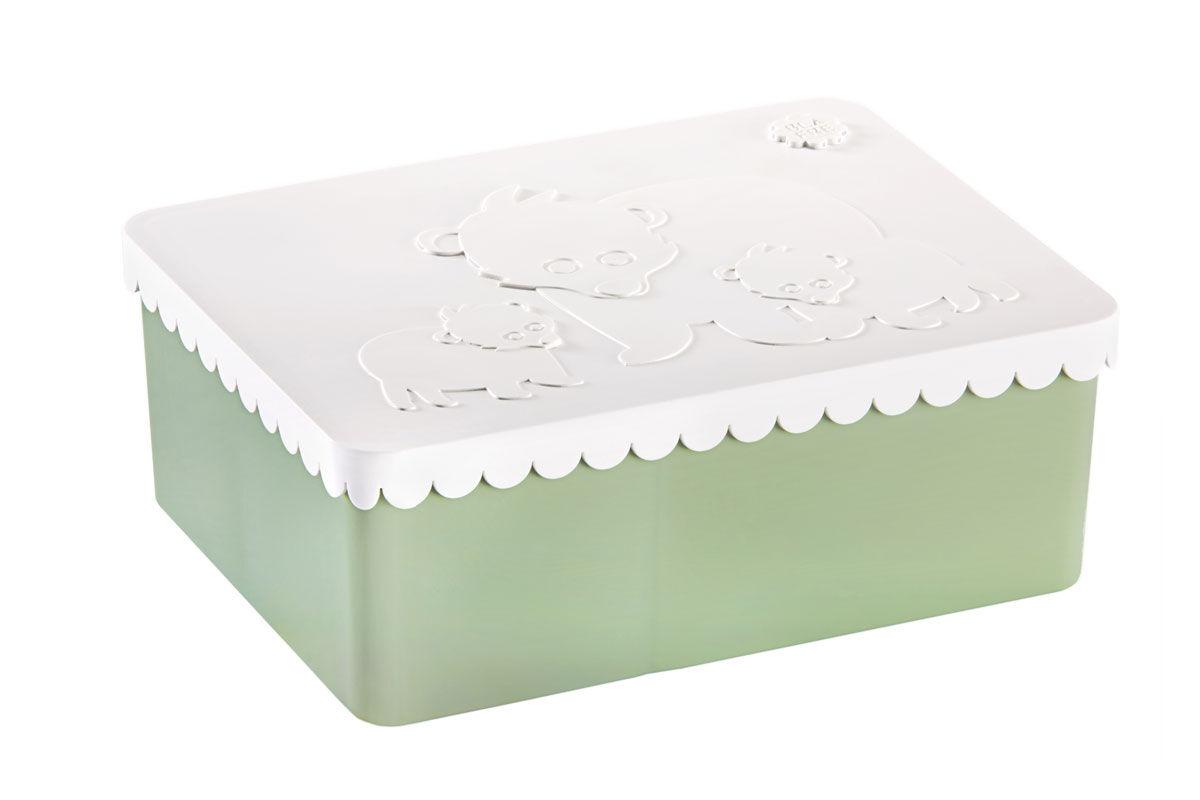 Blafre tre roms matboks i plast med bjørner, hvit