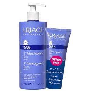 Uriage Promo Baby 1st Cleansing Cream 500ml + Moisturizing Milk 200ml
