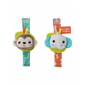 Bright Starts Rattle & Teethe Wrist Pals Toy - Monkey & Elephant