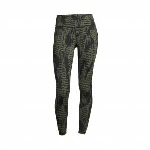 Casall Iconic Printed 7/8 Tights, treningstights dame 34 Survive Dk Green