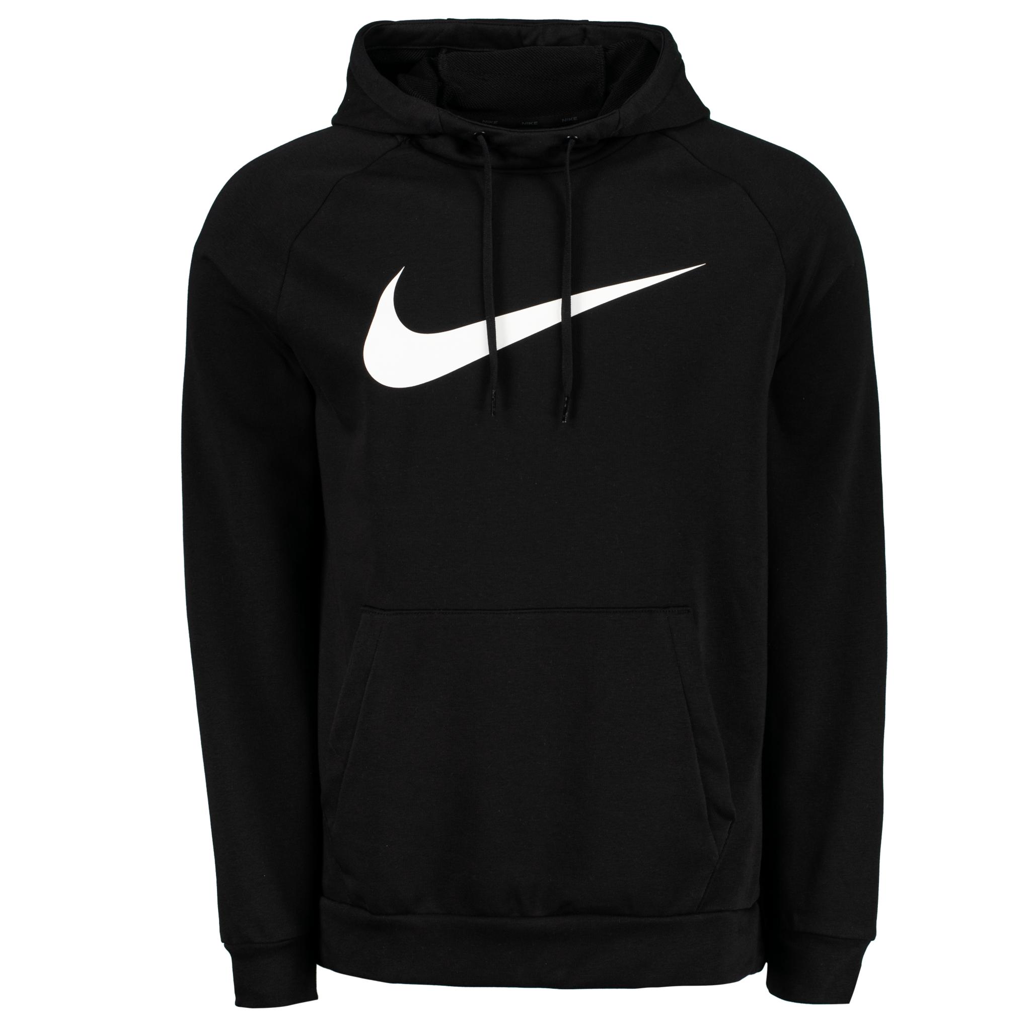 Nike Dri-FIT Pullover Hoodie, hettegenser herre M BLACK/WHITE