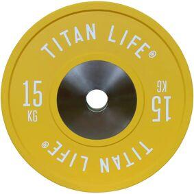 Titan Pro Bumper Plates Elite 15 kg, vektskiver 15kg Yellow