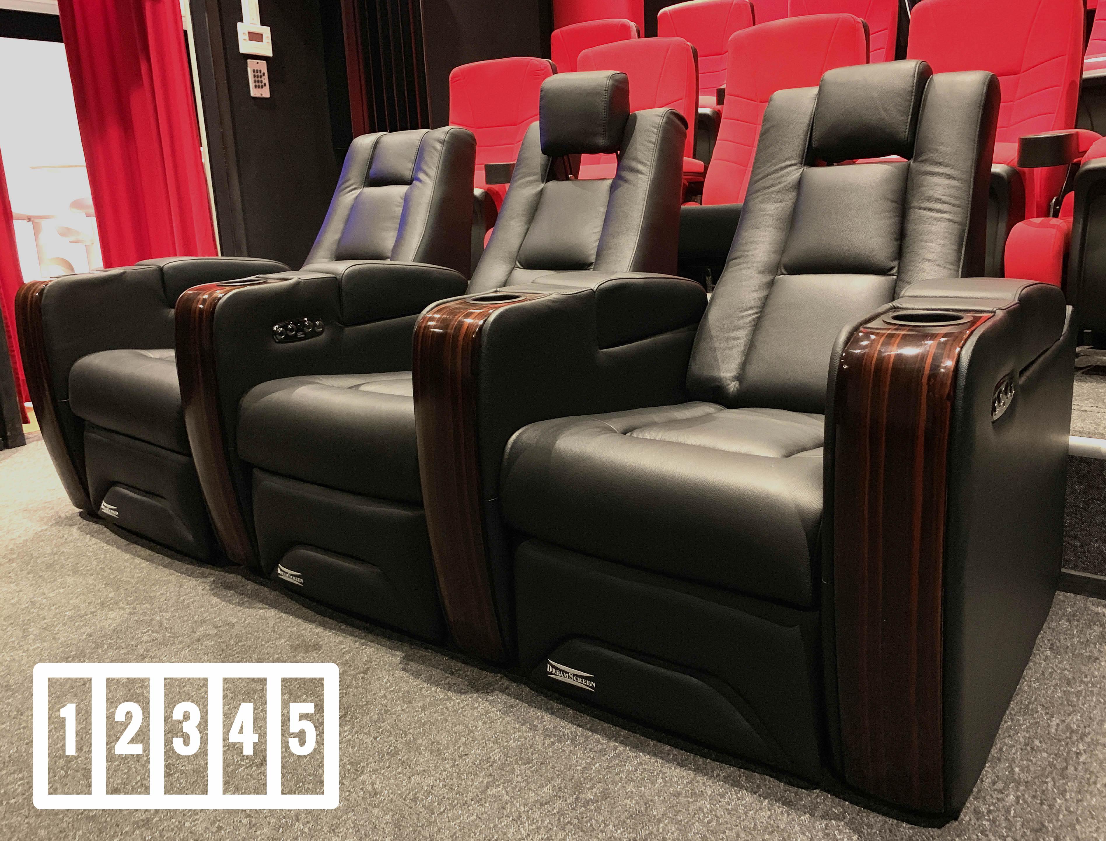 DreamScreen CineSeat ProMotor v4 Motorisert Recliner 5-seter Skinn Sort