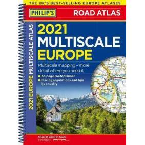 2021 Philip's Multiscale Road Atlas Europe - (A4 Spiral binding)