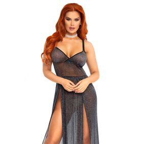 Leg Avenue - Lurex Maxi Dress X-Straps - L (Eu 42-44)
