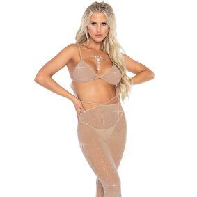 Leg Avenue - Rhinestone Bikini Top And Flared Pants - S/m (Eu 34-38)