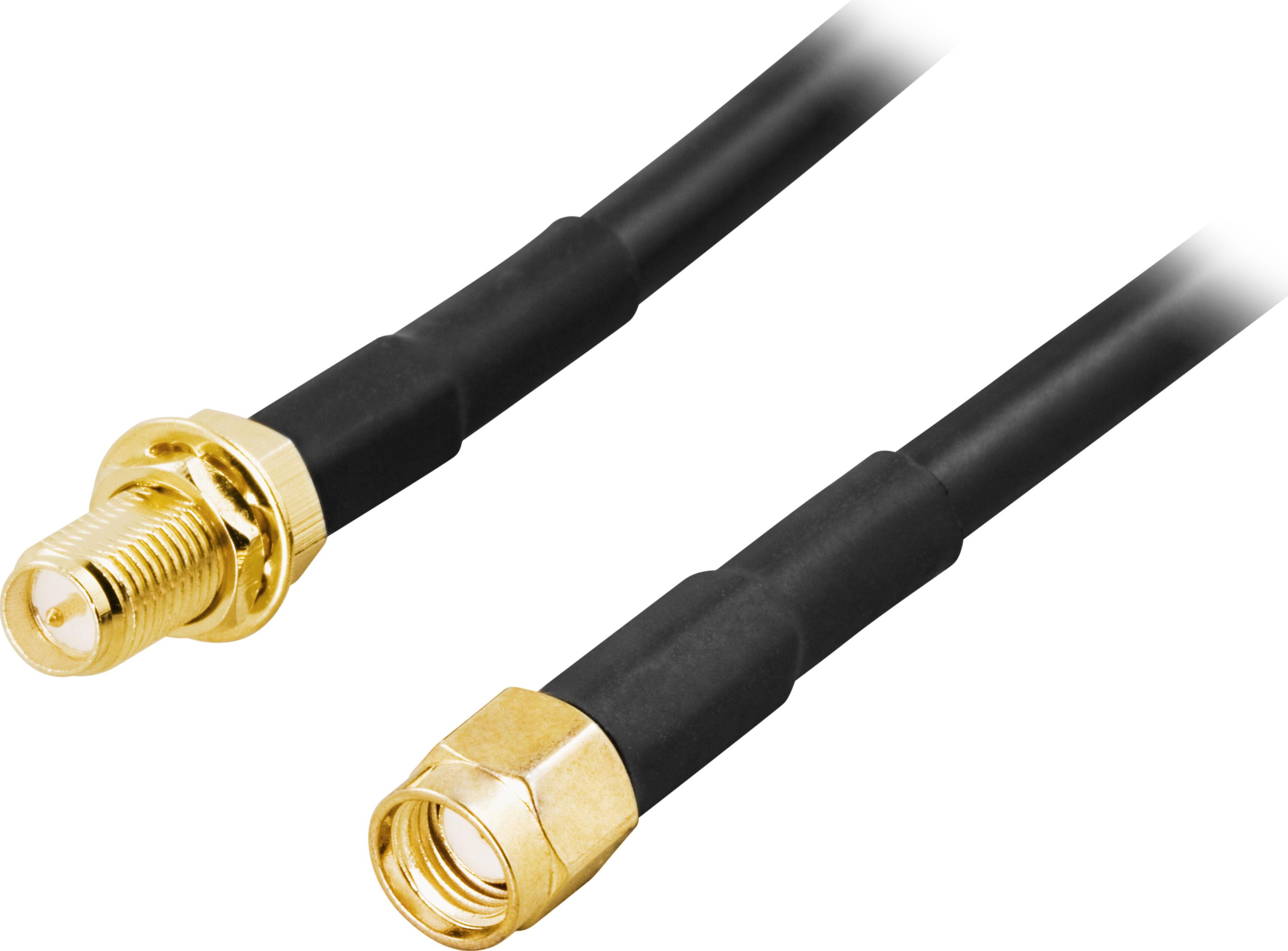 Deltaco SMA-FM300 Deltaco antennekabel, RP-SMA hann - RP-SMA hunn, 3m (Kan sendes i brev)