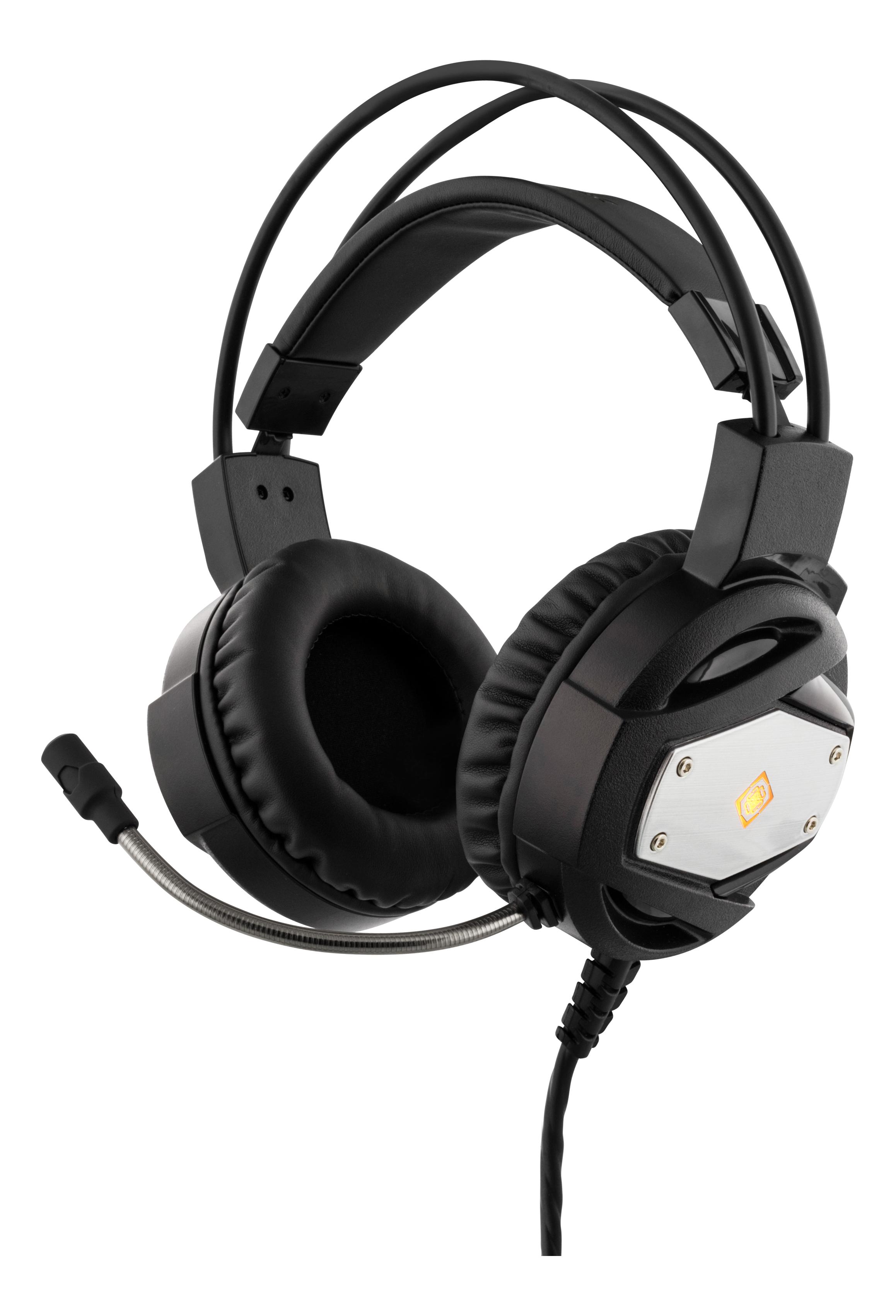 Deltaco GAM-022 Deltaco GAMING headset, LED, 2x3,5mm, 1x 3,5mm adapter, svart/sølv