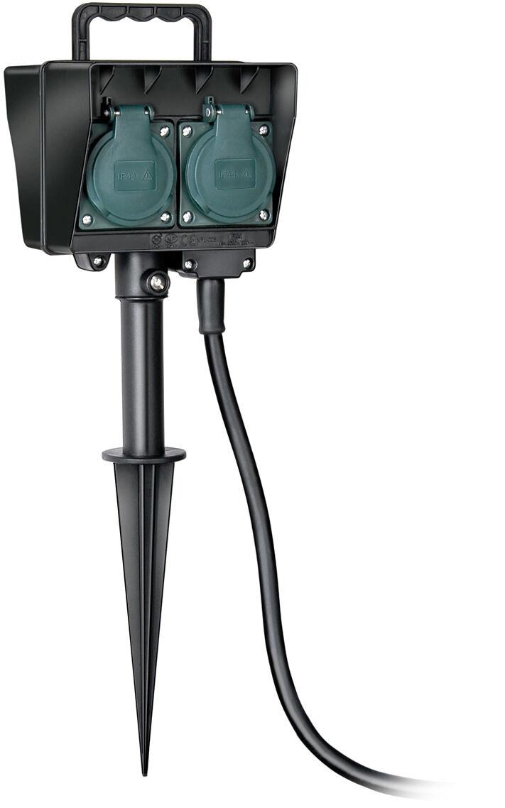 Brennen 1154440 Brennen Utomhusgrenkontakt, 2xCEE 7/4, 1x CEE 7/7, 1,5m kabel, IP44, svart/grön