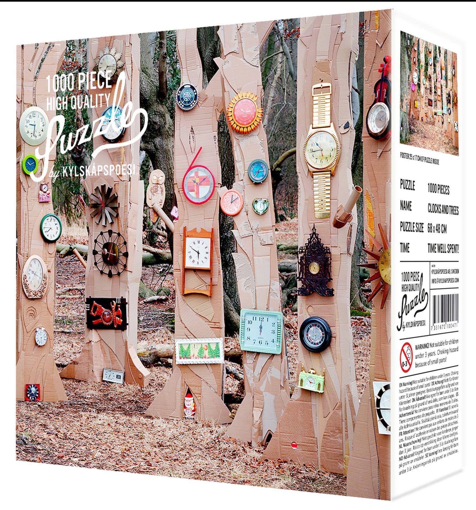 Puslespill 2100471 Puslespill med motiv av klokker og trær