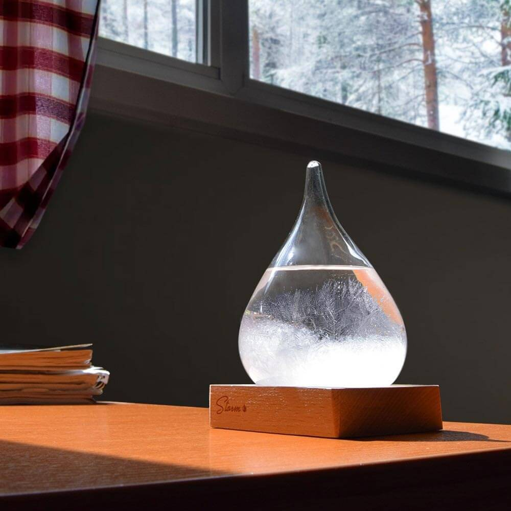 Storm Dråpe - Værmelder - 17cm høy Glass/Tre - Storm Drop