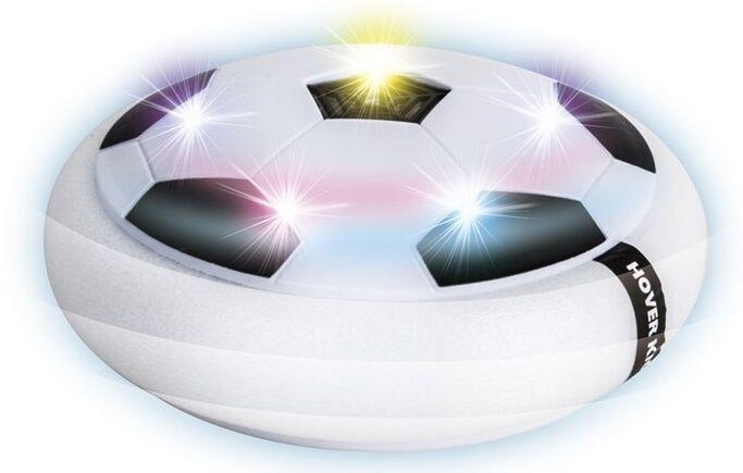 Fotball Disk Svever over gulvet Spill fotball som Air Hockey inne.