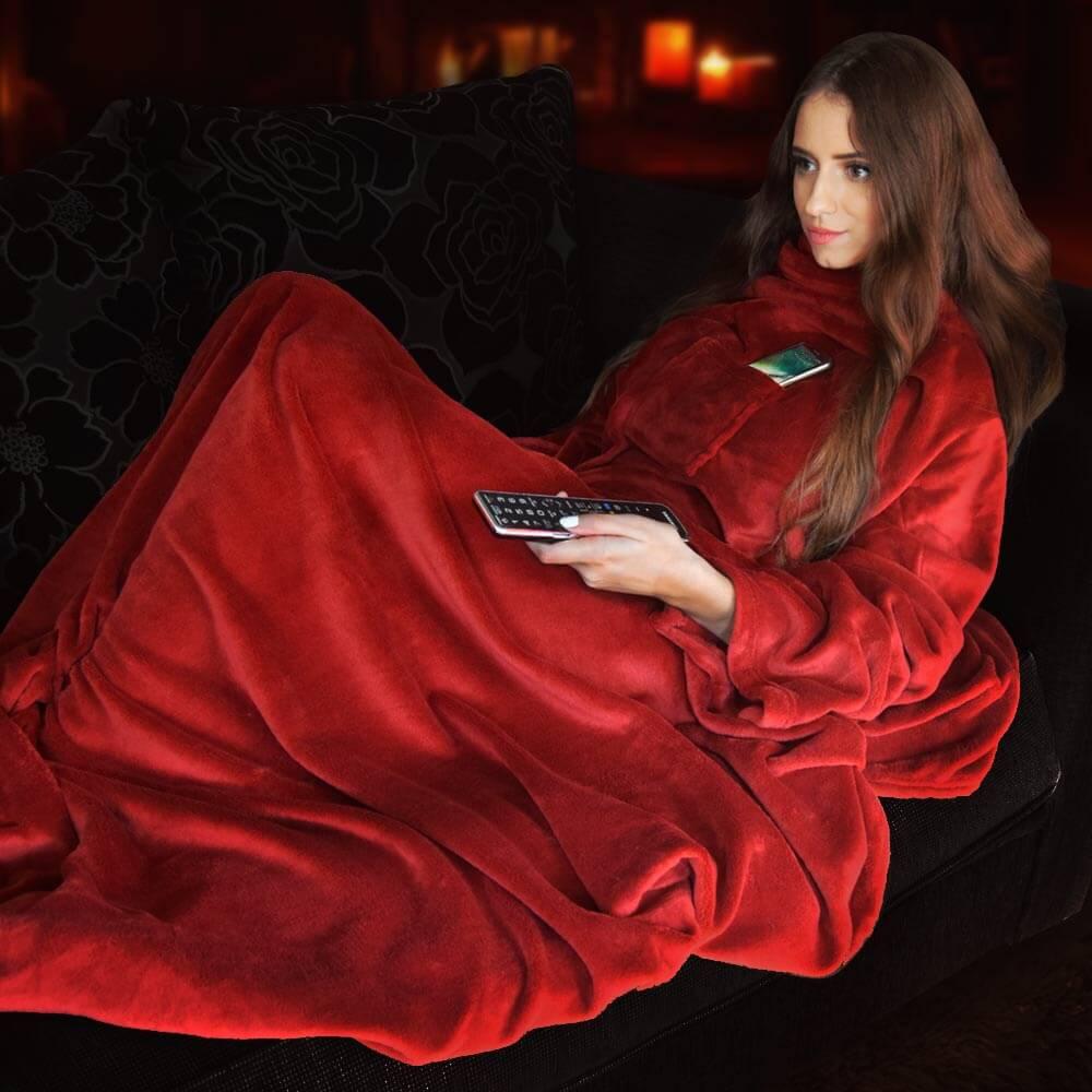 Tykt Pledd Teppe med armer Rødt Fleecepledd med armer - høy kvalitet