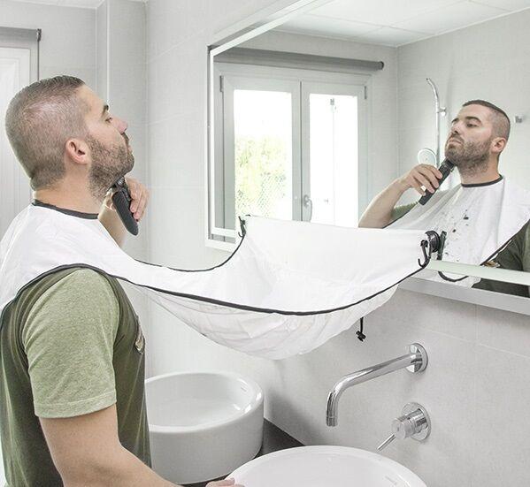 Beard Shaving Buddy Apron Hvit Si farvel til skjeggrester i vasken
