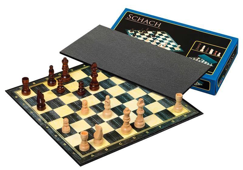 Sjakkbrett m/brikker Tynt brett 29cm Feltstørrelse 30mm - Kongehøyde 64mm