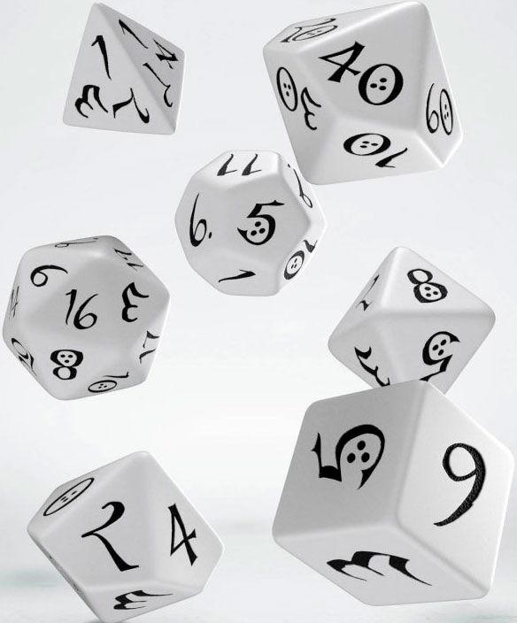 RPG Dice Set White Terninger til rollespill - 7 stk