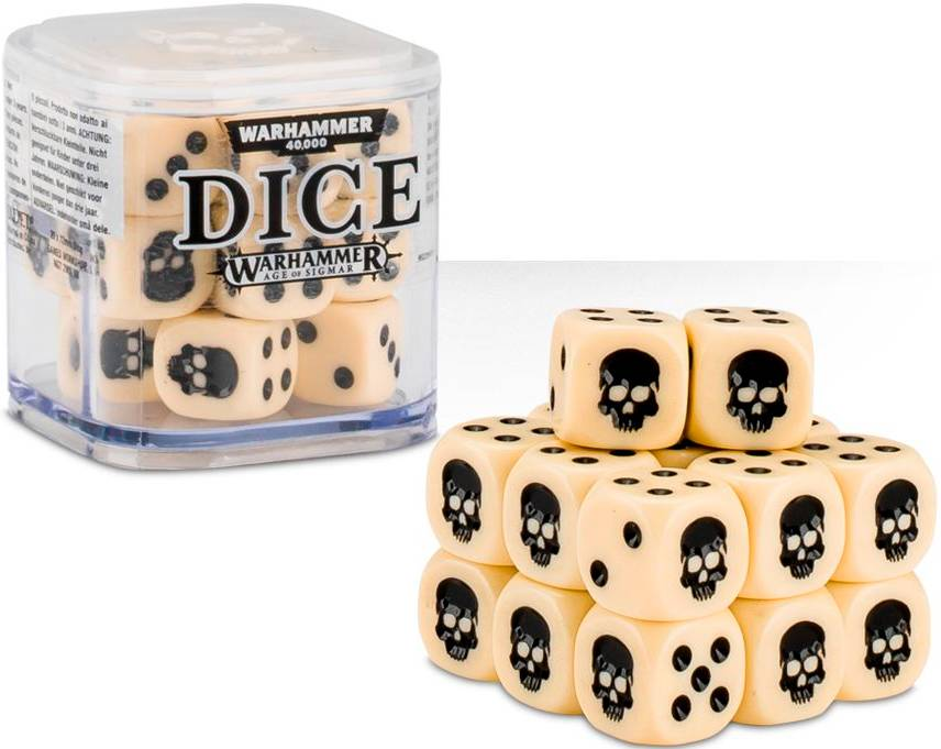 Cube Dice Cube Bone - 20 stk 20 terninger til Warhammer 40K/Sigmar