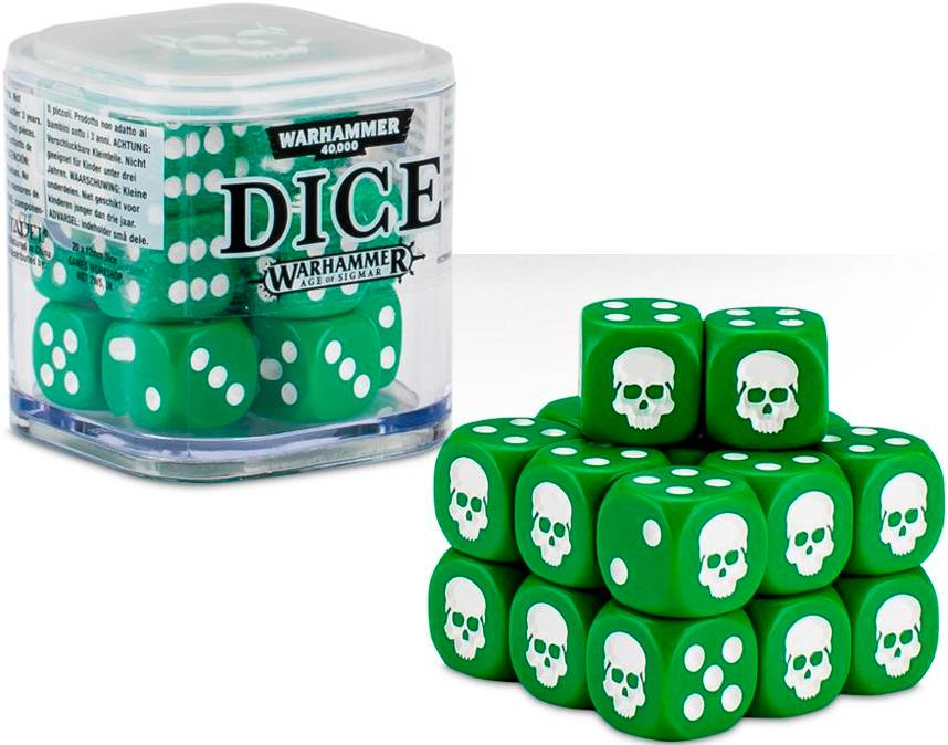 Cube Dice Cube Green - 20 stk 20 terninger til Warhammer 40K/Sigmar