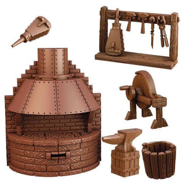 Rio Terrain Crate Blacksmiths Forge Fra Mantic Games - 6 deler