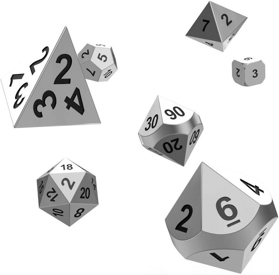 Mercury RPG Dice Set Metall Oakie Doakie Mercury Metall Terninger til rollespill - 7 stk