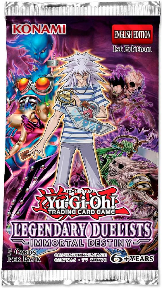 Yu Gi Oh Immortal Destiny Booster Legendary Duelists - 5 kort per pakke