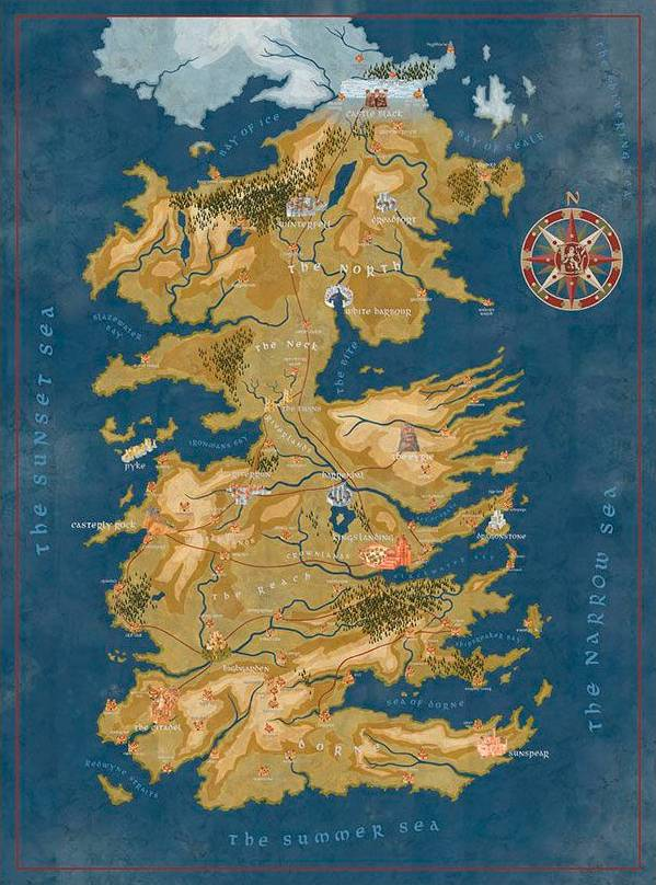 Game of Thrones Puslespill Westeros Cercei Lannister Westeros Map 1000 biter