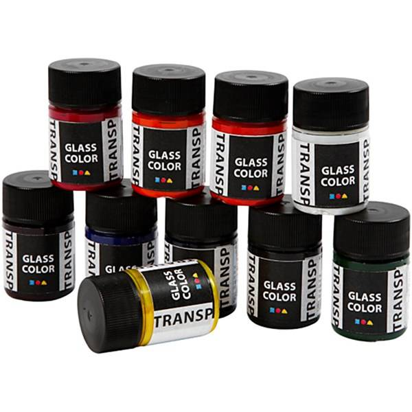 Glass Color Transparent, ass. Farger, 10x30ml (Z000017253)