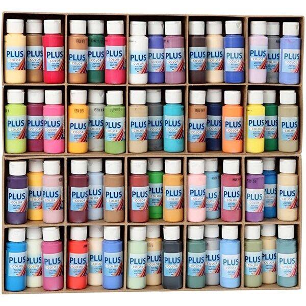 Plus Color hobbymaling, ass. farger, ekskl. display, 60x60ml (Z000016127)