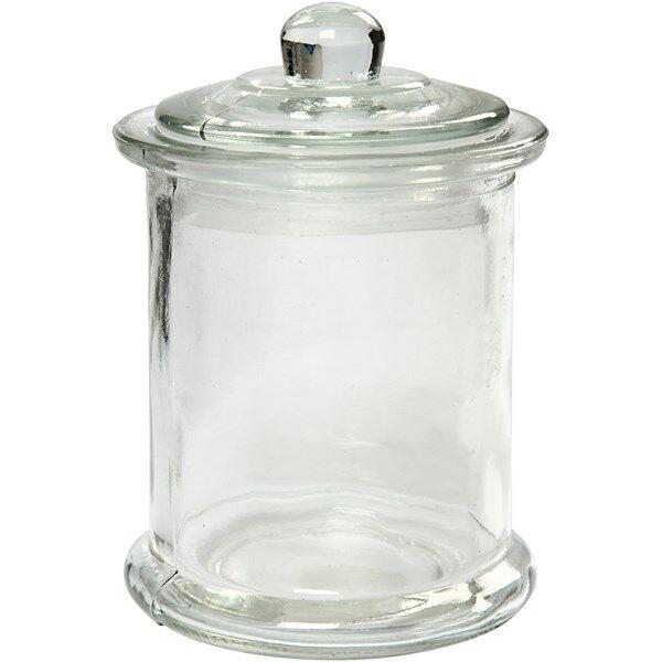 Krukke med lokk, 330 ml, dia. 8 cm, H: 14,5 cm, 10stk. (Z000018884)