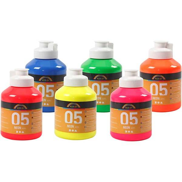 A-Color akrylmaling, neonfarger, 05 - neon, 6x500ml (Z000014156)