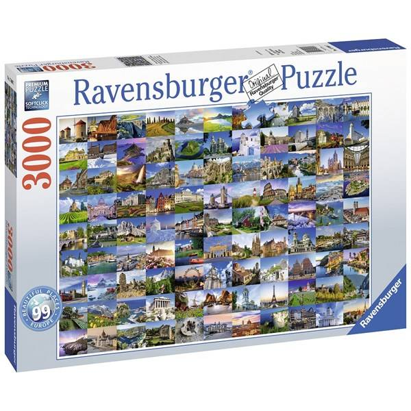 Puslespill, 99 Beautiful Places in Europe, 3000 brikker, Ravensburger (Z000132658)