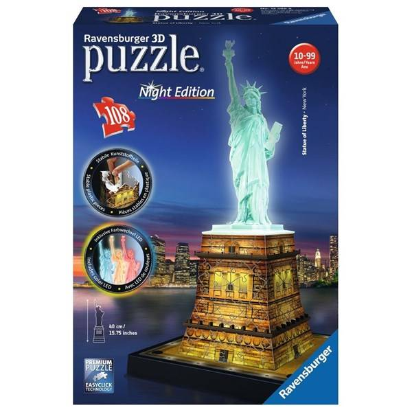 Statue of Liberty Night Edition, 3D Puslespill, 108 brikker, Ravensburger (Z000165138)