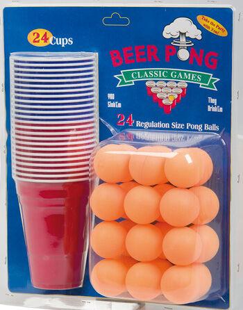 Beer Pong - med 24 Glass og Baller