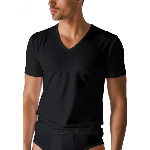 Mey Dry Cotton V-Neck Shirt - Black