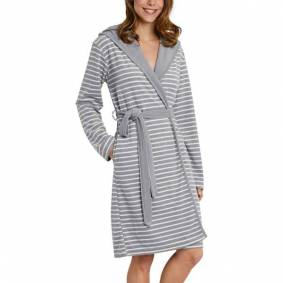 Schiesser Essentials Light Terry Cloth Bathrobe - Grey