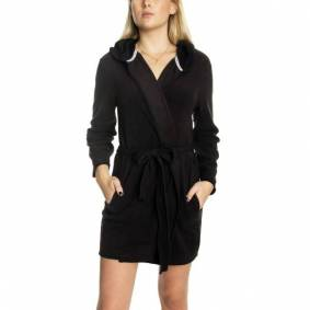 DKNY Cozy Up Hooded Robe - Black